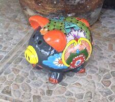 Talavera Ceramic Pig Piggy Bank Home Kitchen Patio Garden Pottery Mexican Decor
