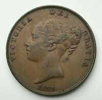 Dated : 1859 - Copper Coin - One Penny - Queen Victoria - Great Britain