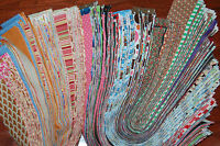 """Lot 40 strips-2"""" MIXED colors, strips, jelly roll, quilt, cotton fabric-grab bag"""