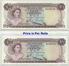 BAHAMAS GOVERNMENT 50 CENTS 1965 ISSUE - ONE OF TWO GEM CRISP NEW NOTES !