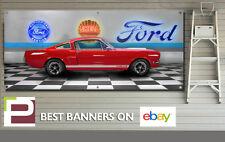 1965 Ford Mustang Garage Scène Bannière, atelier, garage, Man Cave, 5' x 2'