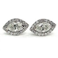 18K White Gold  - 0.30 Ct Marquise Diamond Halo Set Stud Screw Back Earrings
