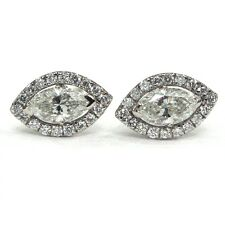 18K White Gold 0.25 Carat Marquise Diamond Halo Set Stud Screw Back Earrings