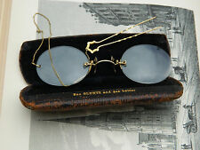 Antique Rimless Gold Filled Prince Nez Eyeglasses Chain & Hair Pin Original Case