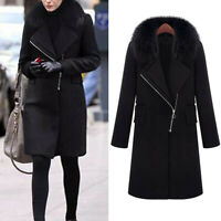 Women Slim Winter Warm Wool Lapel Long Coat Trench Parka Jacket Overcoat Outwea
