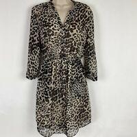 Vince Camuto Womens size 4 Leopard Print Long Sleeve Chiffon Dress