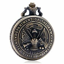 Exquisite Engrave American Military United States Army Quartz Pocket Watch Gifts