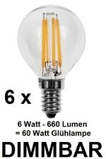 6 x dimmbare 6 Watt FILAMENT LED Lampe E14 Warmweiß Klarglas 660 Lm ~ 60 Watt
