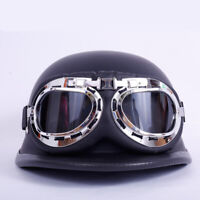 DOT German Motorcycle Helmet Half Face w/Goggles for Chopper Scooter Street Bike