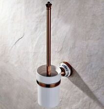 Rose Gold Brass Bathroom Cleaning Ceramic Cup Toilet Brush Holder Sets zba387