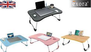 Folding Laptop Table Bed Tray Portable Lap Desk Notebook Breakfast Cup Slot UK
