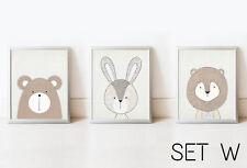 SET Bear Rabbit Lion Nursery Decor Wall Art Animals Picture Kids Print Baby Room