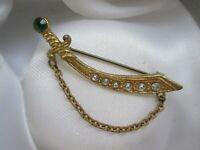 Vintage Emerald & Clear Rhinestone Gold Tone Sabre Sword Link Chain Brooch Pin