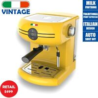 Vintage Traditional Pump Espresso Coffee Machine Manual - Not Delonghi -Yellow