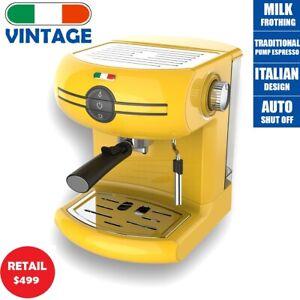 Vintage Traditional Pump Espresso Coffee Machine Manual - Not Delonghi -Yellow