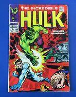 INCREDIBLE HULK #108 COMIC BOOK ~ 1968 MARVEL SILVER AGE ~ VG+