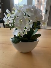"Artificial 16"" White Phalaenopsis Orchid Silk Flowers Arrangement in White Vase"