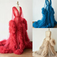 Women Tulle Maternity Sleepwear Gown Ruffle Night Robe Tiered Dress Photo Shoot