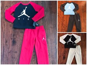 NWT$44 BOY'S NIKE AIR JORDAN FLEECE SWEATSHIRT & SWEAT PANTS SET (855660)