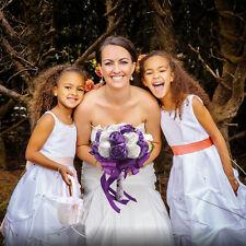 Purple Wedding Bride Silk Rose Rhinestone Flower Bridesmaid Bouquet Holding Gift