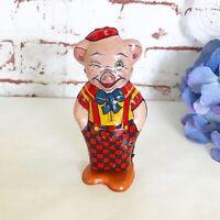 Antique Pig Wind-Up Tin Litho Toy WORKS Vintage J Chein Mechanical Waddle Walker