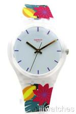 New Swatch Swiss PISTIL White Silicone Bold Flowers Watch 34mm GW192 $65