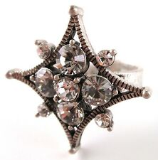 £30 Boho Art Deco Silver Clear Star Adjustable Ring Swarovski Elements Crystal
