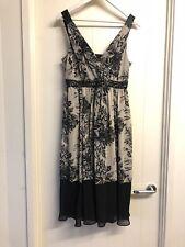 Rockmans Size 12 Black & Beige Floral V Neck Sleeveless Dress RRP $79 # 931