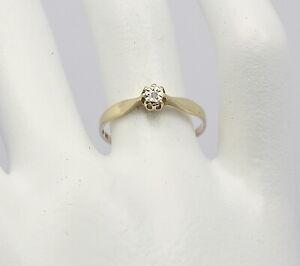 ♦ Solitär Ring in 14 kt 14k 585er Gelb Gold mit Diamant Diamantring Gr. 54 Damen