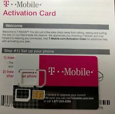 T-Mobile Prepaid Sim Card ACTIVATION Kit , Unactivate. TRIPLE CUT SIM CARD