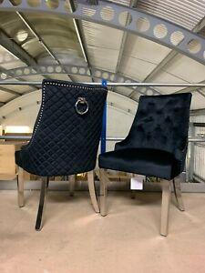 Chelsea Ring Knocker Back Chair Luxury Brushed Velvet Dining Chair in Black