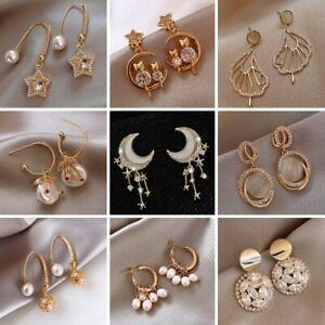 Charm Gold Pearl Crystal Tassel Earrings Stud Drop Dangle Women Wedding Jewelry