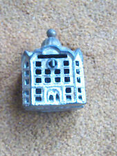 Antique Small Cast Iron Still Penny Silver Domed Bank Building With Golden Roof