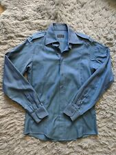 Gucci Military Style Dress Shirt Blue Vintage 1998 Made in Italy 39/15.5