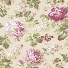 Wallpaper Designer Large Rose and Wisteria Floral Pink Red White Green on Cream