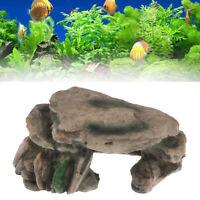 Aquarium Hiding Cave Rock Reptile Climbing Platform Stones for Fish Tank Deco OZ
