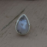 Natural Dendritic Agate Gemstone 925 Sterling Silver Handmade Gift Ring Size 7