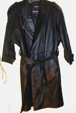 Womans Black Wilsons Leather FULL LENGTH BUTTON JACKET XS Trench Coat W/ Liner
