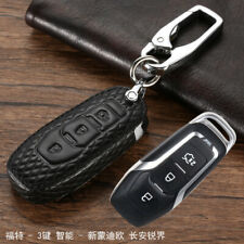 Black Leather Car Smart Key Remote Entry Fob Case Cover For Ford Mondeo / Edge