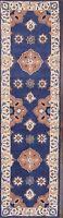 Vintage Style Floral Oushak Oriental Hand-tufted 10' Navy Blue Wool Runner Rug