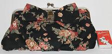 Pink Floral Shoulder Bag Clutch Black Rose Silver Chain Frame Vintage Anna