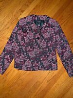 Liz Claiborne Axcess Lined ENGLISH GARDEN ROSE Blazer Jacket Coat Womens Size 14