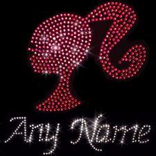 Personalised Any Name Barbie Crystal Iron On Transfer Set Pink Rhinestone Bling
