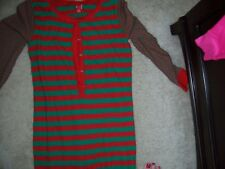 ADULT LARGE  - RED & GREEN STRIPED ONE PIECE LONG JOHN PAJAMAS - NWT