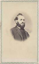 CARTE DE VISITE, GENTLEMAN WITH A BEARD AND STYLED HAIR IN A CHECKERED VEST.