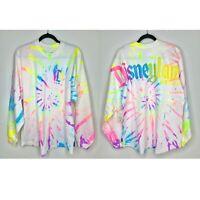 Disney Land Adult M White Neon Rainbow Splatter Tie Dye Glitter Spirit Jersey