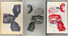 """""""Fire"""" War Study Lithograph Triptych Ina Anderson 1942-2017 Outsider Art 20 x 30"""