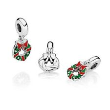 Genuine Pandora Charm Sterling Silver Holiday Christmas Wreath Dangle 796362ENMX