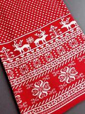 BEDFORD COTTAGE Scandinavian KNIT Home THROW Fleur de Lis Reindeer Red White