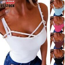 Sexy Women's Slim Fit Tank Tops Crop Top Sleeveless Round Neck Vest Cami T-shirt
